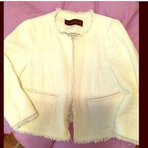 Zara Basic white fringe blazer